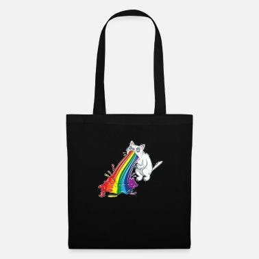 Vomi Caricature de chat arc-en-ciel vomir - Tote Bag