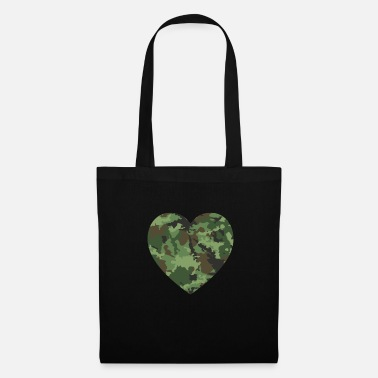 Memory Love American Soldier Troop Camouflage Heart Gift - Tote Bag