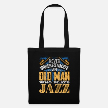Instrument The old man plays jazz music - Tote Bag