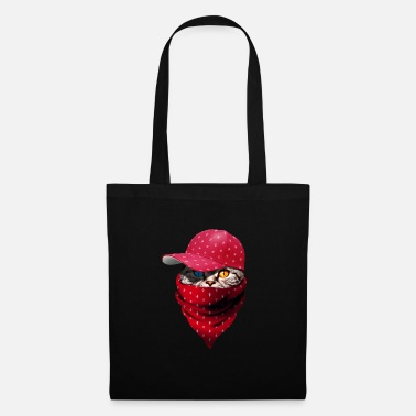 Gangster Gangster cat with christmas cap and bandana - Tote Bag