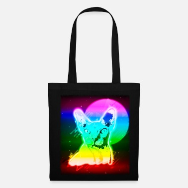 Acid House Hairless Cat Shirt Vintage Rave Sphynx Cat Tshirt Neon Kitty - Tote Bag