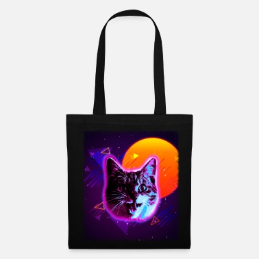 80s Cat Face Shirt Trippy Rave Disco Neon 80s Vintage - Tote Bag