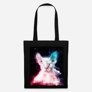 Crazy Hairless Cat Shirt Trippy Space Sphynx Cat T Shirt - Tote Bag