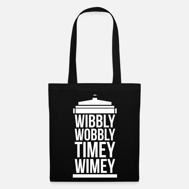Doctor Bags & Backpacks - wibbly wobbly timey wimey - Tote Bag black