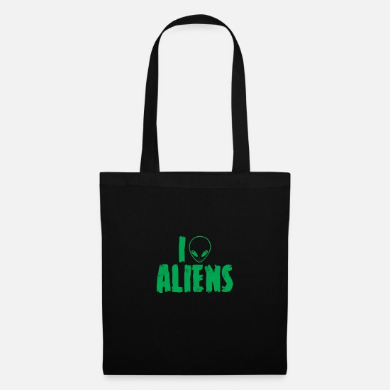 Outerspace Bags & Backpacks - Alien / Area 51 / UFO: I Love Aliens - Tote Bag black