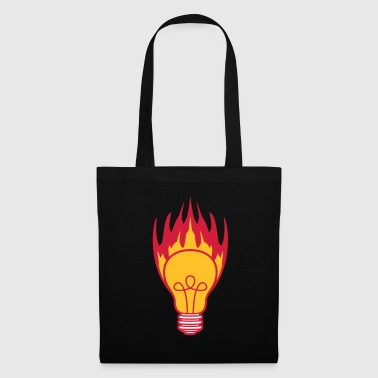 hot fire flames burning light bulb light electricity - Tote Bag