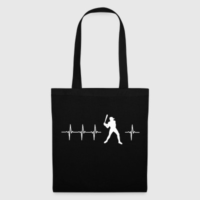 I love baseball (baseball heartbeat) - Tote Bag