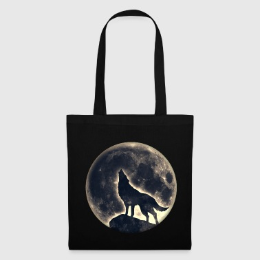 Wolf full moon, wolves, native, Indians, wild, dog - Tote Bag