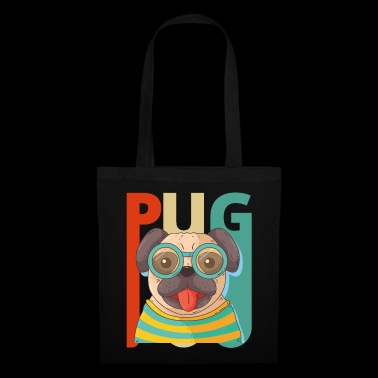 Vintage Retro Pug Dog Puppy. Year of the Dog Gifts - Tote Bag