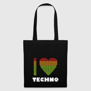 I Love Techno Equalizer Heart Dance Clubbing - Tas van stof