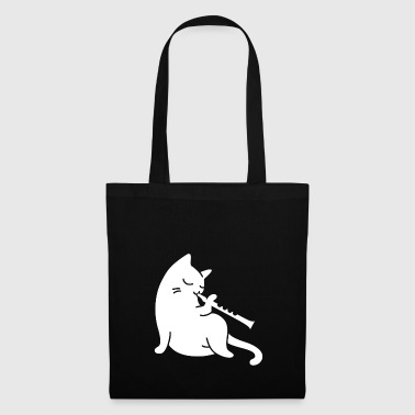 Cat plays flute - Tote Bag