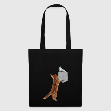Cat Reaching Tufted Titmouse In Fake Print-On - Tas van stof