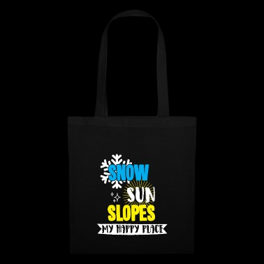 Snow Sun Slopes my happy place t-shirt with snow - Tote Bag
