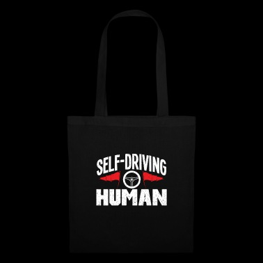 Self-Driving Human T-shirt with steering wheel and flag - Tote Bag