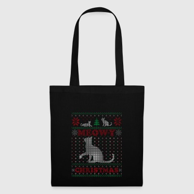 Meowy Ugly Chrismtas Sweater Cat Pun Gift - Tote Bag