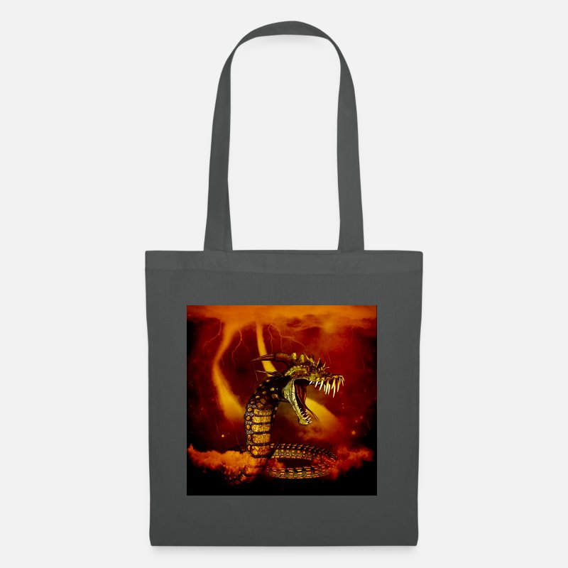 Animal Bags & Backpacks - Awesome dinosaur at night - Tote Bag graphite grey
