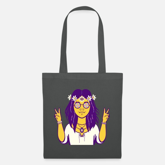 Sunglasses Bags & Backpacks - Hippy Hippie Girl Retro Vintage 60s Style - Tote Bag graphite grey