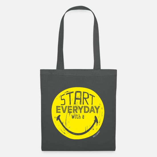 Emoji Taschen & Rucksäcke - SmileyWorld Start everyday with a Smile - Stoffbeutel Graphite