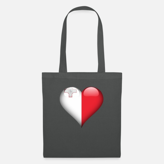 Country Bags & Backpacks - Heart Malta Flag - Tote Bag graphite grey