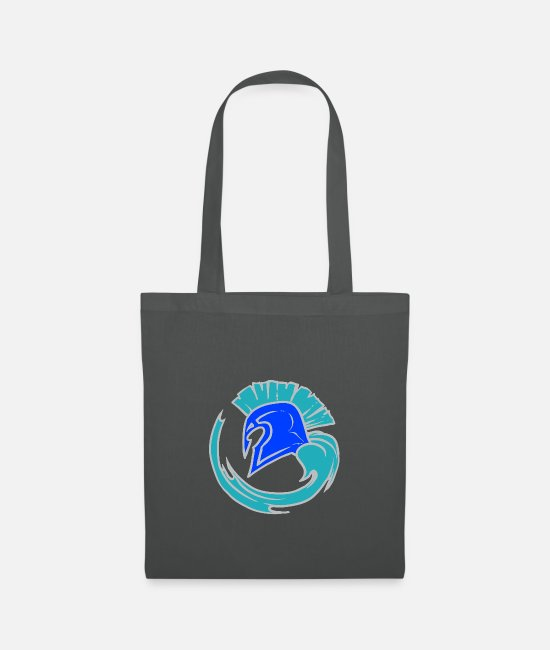 Blue White Bags & Backpacks - Cool Blue Spartahelm - Leibl Designs - Tote Bag graphite grey