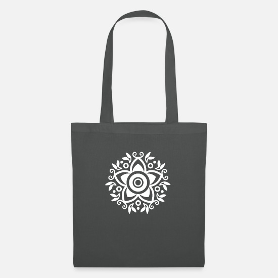 Gift Idea Bags & Backpacks - Mexico Mexican Art Flower Floral Pattern - Tote Bag graphite grey