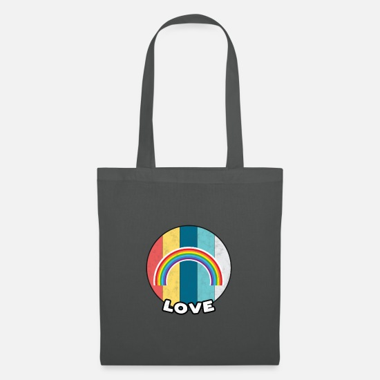 Rainbow Bags & Backpacks - Gay Pride Vintage Gay Homo Bi Gift LGBTQ + - Tote Bag graphite grey