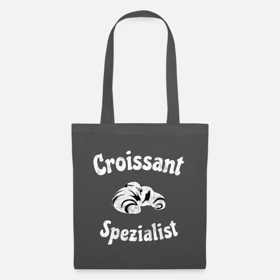 Birthday Bags & Backpacks - Baker croissant baking gift pastry baking - Tote Bag graphite grey