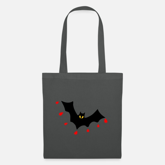 Funny-unique-fabulous-vintage-vampire-bats-clothes Bags & Backpacks - ✦°• (㇏(•̀ᵥᵥ•́)ノ)Splat Blood Dripping Vampire Bat - Tote Bag graphite grey