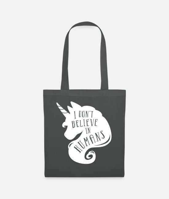 Believe Bags & Backpacks - I don´t believe in humans - unicorn - Tote Bag graphite grey