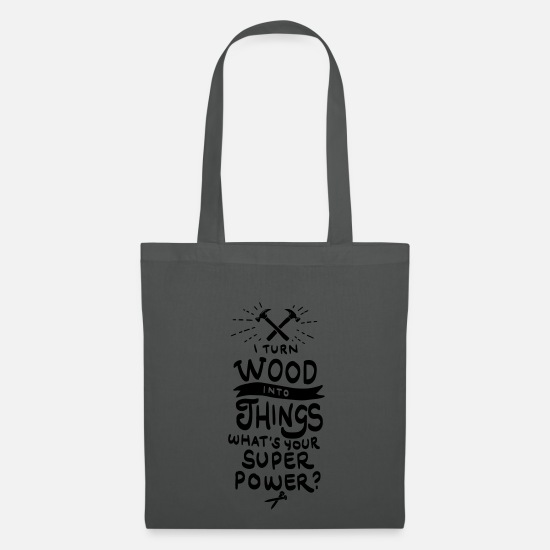 Hammer Bags & Backpacks - Carpenter joinery furniture lumberjack ax - Tote Bag graphite grey