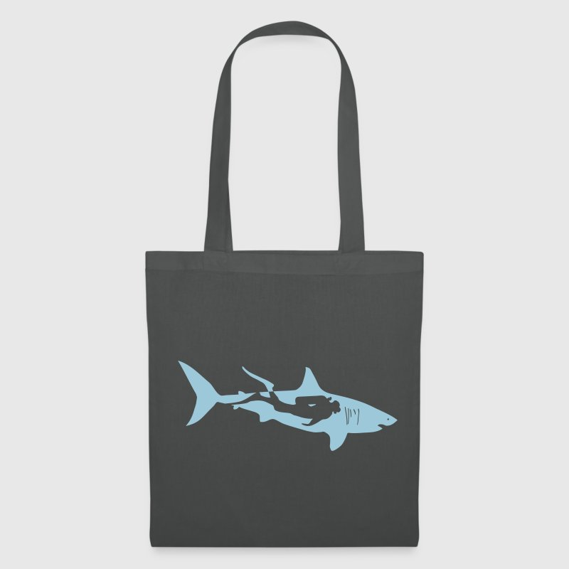 scuba diving diver shark jaws whale dolphin - Tote Bag