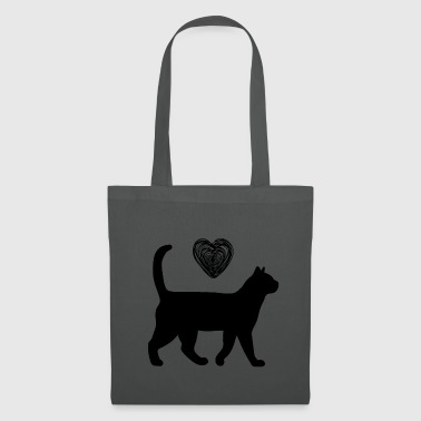 Cat with heart - Tote Bag