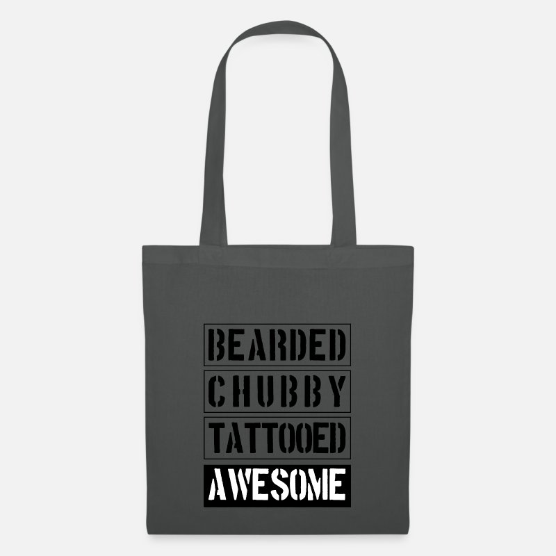 Gift Idea Bags & Backpacks - Bearded Chubby Tattooed Awesome - Tote Bag graphite grey