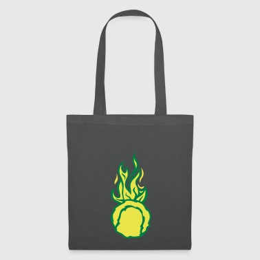 balle tennis flamme fire flame cartoon d - Tote Bag