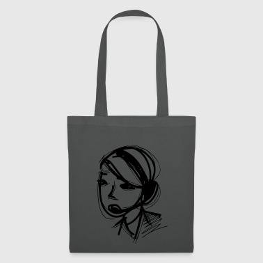 Line drawing of woman with headset - gift idea - Tote Bag