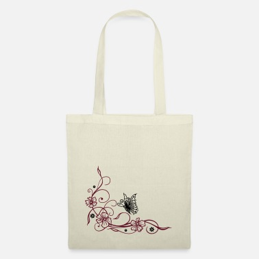 Butterfly Flowers with filigree floral ornament, butterfly - Tote Bag