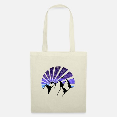 Relaxe ALL minimalistic mountain colors v3 blue birds sun - Tote Bag