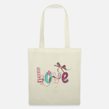 LOVE SCRIPT WITH SEWING ACCESSORIES - Tote Bag