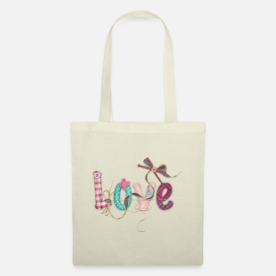 Stitch Bags & Backpacks - LOVE SCRIPT WITH SEWING ACCESSORIES - Tote Bag nature