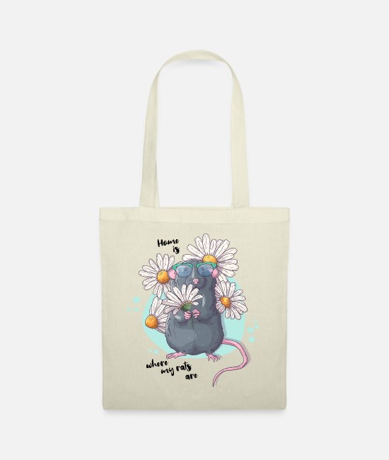 Sunset Bags & Backpacks - Sweet rat with flowers | Funny saying - Tote Bag nature