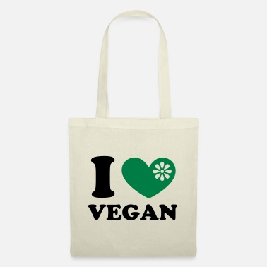 I heart vegan, vegetarien, organic green food, eco - Tygväska