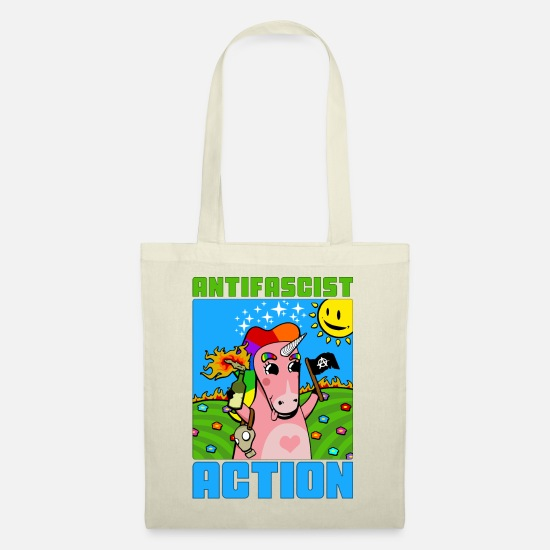 Gay Pride Bags & Backpacks - Antifascist Action (Unicorn) - Tote Bag nature