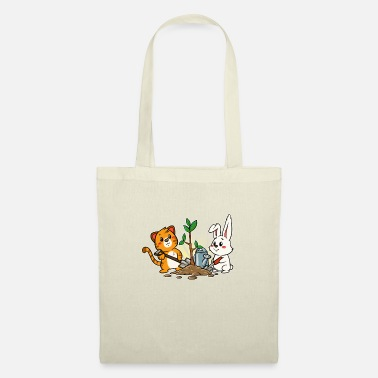 Garden Garden gardener cat bunny bunny plants kitty - Tote Bag