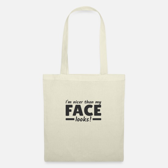 Quote Bags & Backpacks - I am nicer than i look evil face - Tote Bag nature