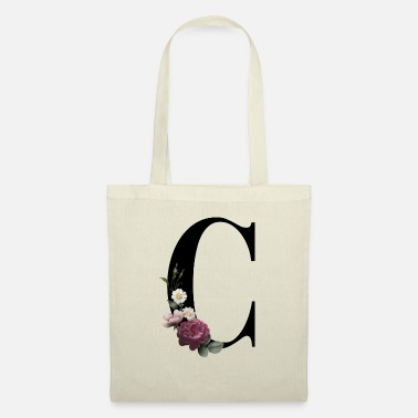 Initial with C floral print - Tote Bag