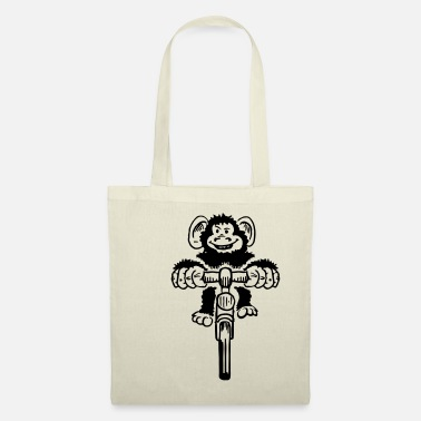 Vector Funny monkey on bicycle - Tote Bag