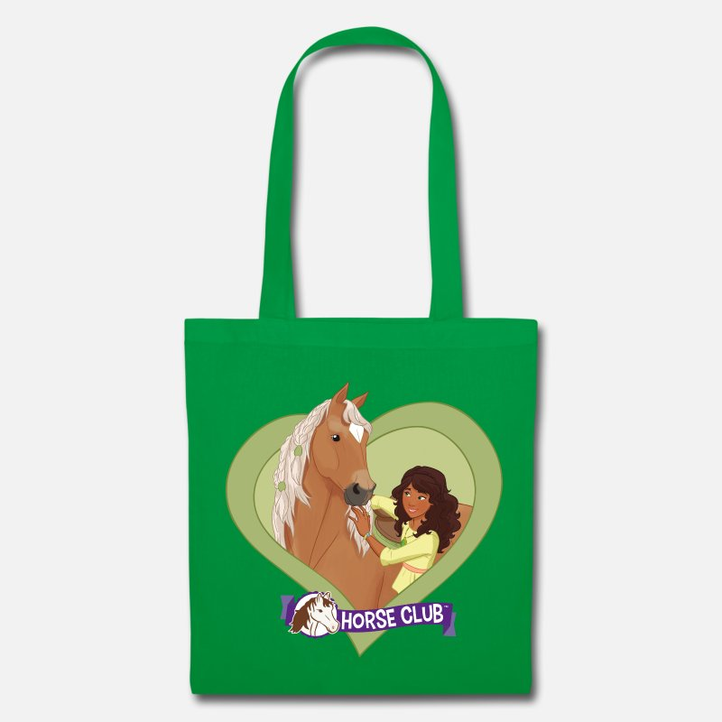 Club Bags & Backpacks - Schleich Horse Club Sarah & Mystery heart motif - Tote Bag kelly green