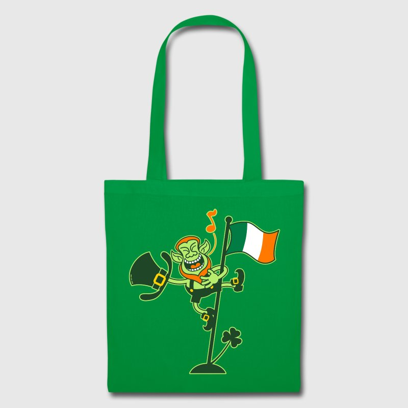 Leprechaun Singing on an Irish Flag Pole - Tote Bag