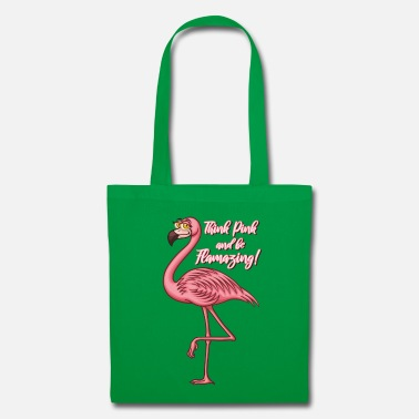 Think Pink and be Flamazing - Rosa Flamingo Spruch - Stoffbeutel