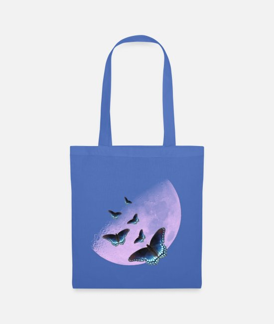 Dream Bags & Backpacks - Pink moon with butterflies - Tote Bag light blue
